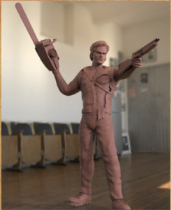 render of the Ash figure sculpt